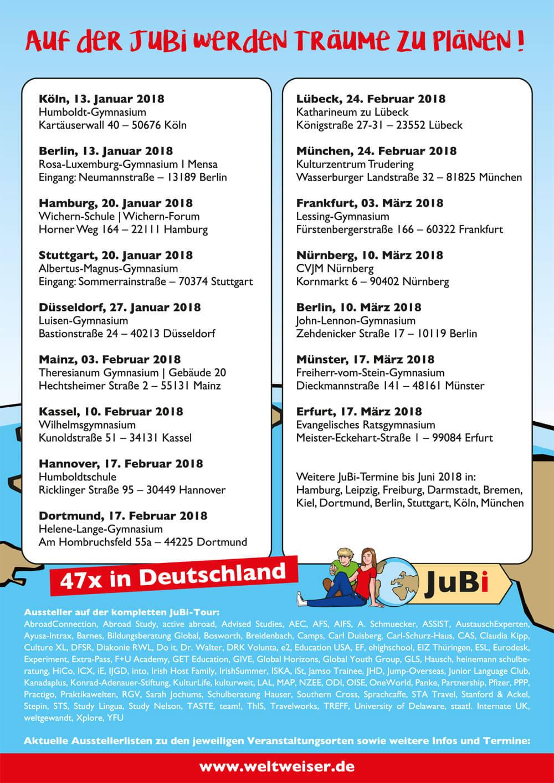 weltweiser JugendBildungsmesse JuBi Tour Standorte 2018