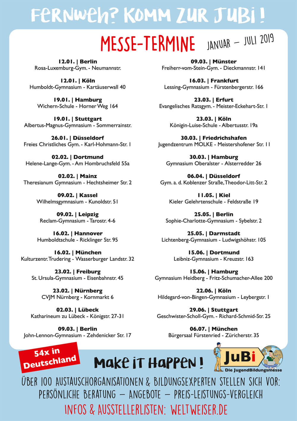 JugendBildungsmesse · Flyer · Rückseite · Termine JugendBildungsmesse 2019